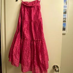 Ulla Johnson Pink floral silk skirt size 2